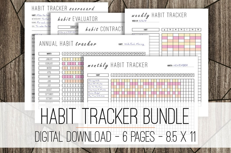 picture regarding Daily Habit Tracker Printable titled Behavior Tracker Offer, Routine Printable Log, Each day Patterns Planner, Weekly Routines, Printable Purpose Tracker, Practice List, Productiveness