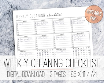 Weekly Cleaning Checklist EDITABLE Printable Letter & A4, Weekly Cleaning Planner, Cleaning List, Daily Cleaning Checklist