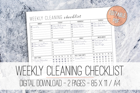 Weekly Cleaning Checklist Editable Printable Letter A4 Weekly Cleaning Planner Cleaning List Daily Cleaning Checklist