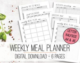 Weekly Meal Planner & Grocery List Printable PDF   Meal Prep   Menu Planner   Meal Planner Insert   Meal Plan   A4 , A5, Letter, Half Size