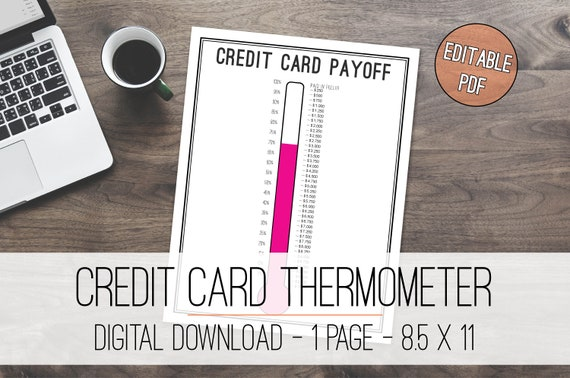 credit card payoff tracker thermometer printable debt free etsy