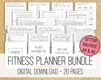 Fitness Planner Printable Bundle, Weight Loss Planner, Workout Planner, Fitness Journal, A5 A4 Letter Size Half size