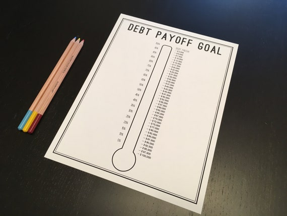 Debt Thermometer Tracker Printable Debt Tracker Debt Etsy