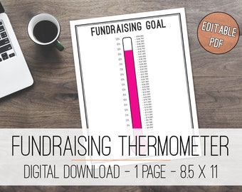 Fundraising Goal Tracker Printable, Fundraising Tracker, Donation Tracker, Savings Tracker, Savings Thermometer