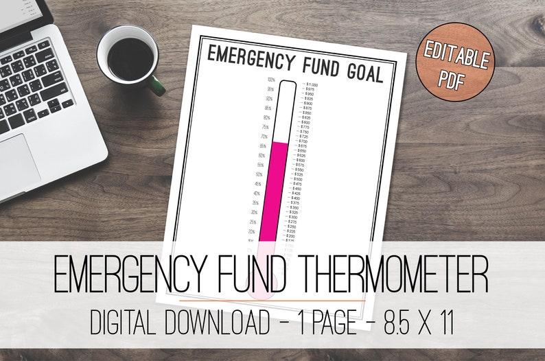 Emergency Fund Goal Printable Emergency Fund Tracker Savings image 0