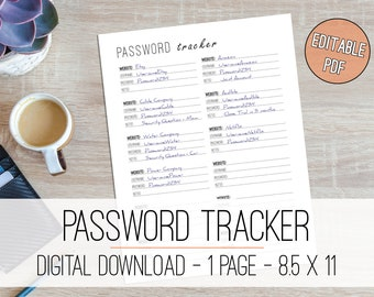 Editable Password Tracker Printable Password Log Editable Password Keeper Password Organizer Password Sheets for Planner Inserts