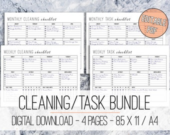 Cleaning Checklist Task List BUNDLE Editable Printable Letter & A4, Cleaning Checklist, Tasks, To Do List, Weekly Cleaning, Monthly Cleaning