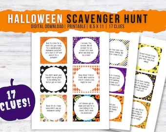 Halloween Scavenger Hunt, 17 Clues, Trick or Treat, Indoor Treasure Hunt, Scavenger Hunt Cards, Printable Halloween Game for Kids, PDF