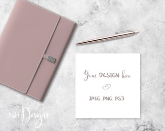Note card mockup etsy square card mockup stationery mockup andor invitation mockup with lavender notebook on marble surface in psd png jpeg format reheart Images