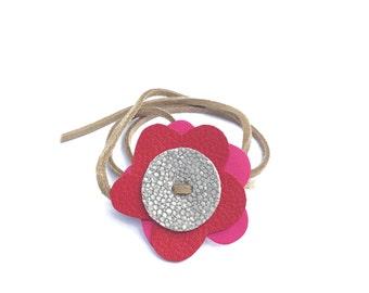 Wrap bracelet with flower, Bracelet for women, Leather bracelet, Wrap anklet with flower, Leather anklet, Wrap necklace, Gift for her