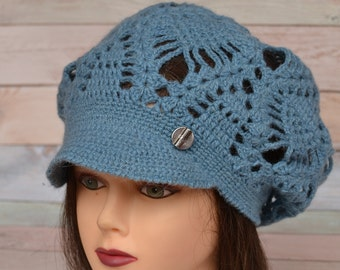 Crochet Brim Cap Beret with a visor Textured Mesh Slouchy Cap  all season Knit Cap for women teens Blue Jeans&different colors for order