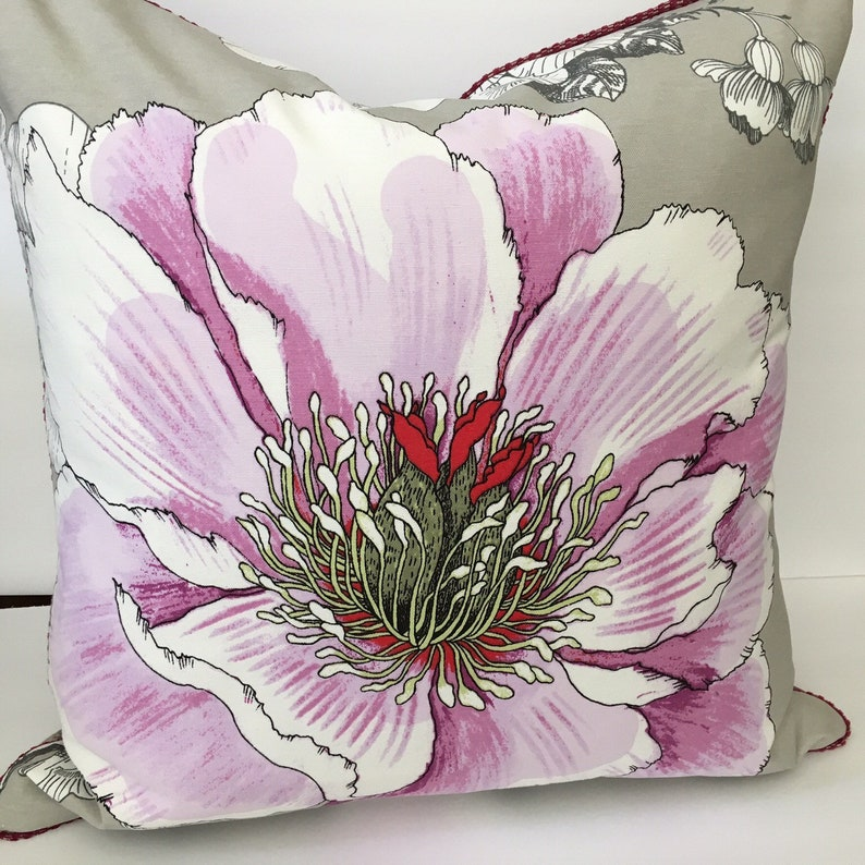Decorator Throw Pillow Cover Grey Lilac Purple Flower image 0