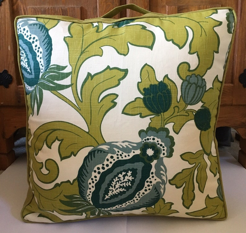 Bright green white floor cube box large pillow 25 inch square image 0