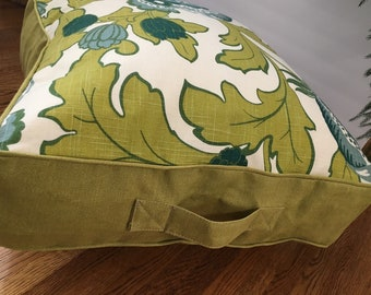 Bright green white floor pillow 25 inch square leaf floral with bean bag filler insert