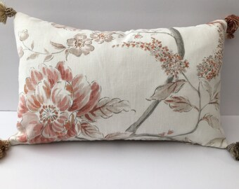 Tasseled floral rectangle decorator pillow cover 18x11 rectangle