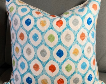 Red blue green multi dot abstract geometric contemporary watercolor tan Euro size 25 inches square linen pillow cover