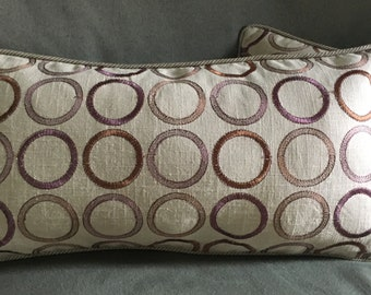 Purple circles pattern on khaki tan beige linen designer fabric pillow cover 21x11 rectangle lumbar + velvet back + cord edge
