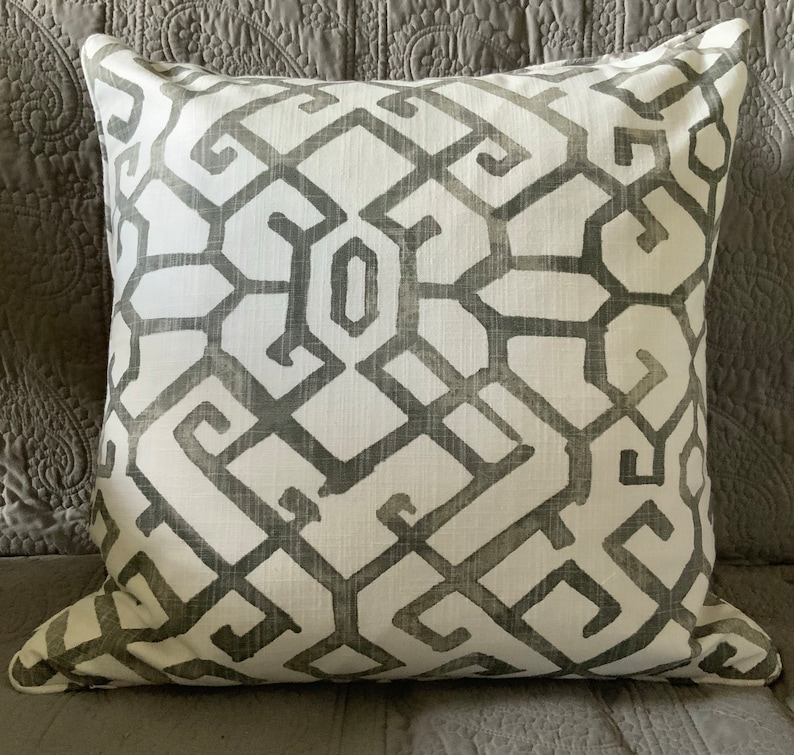 Charcoal grey white graphic pattern decorator throw pillow image 0