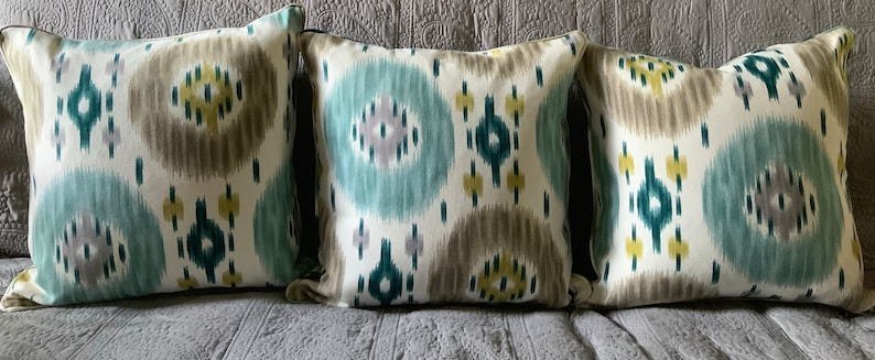 Green grey cream abstract medallion pillow cover 19 inches image 0