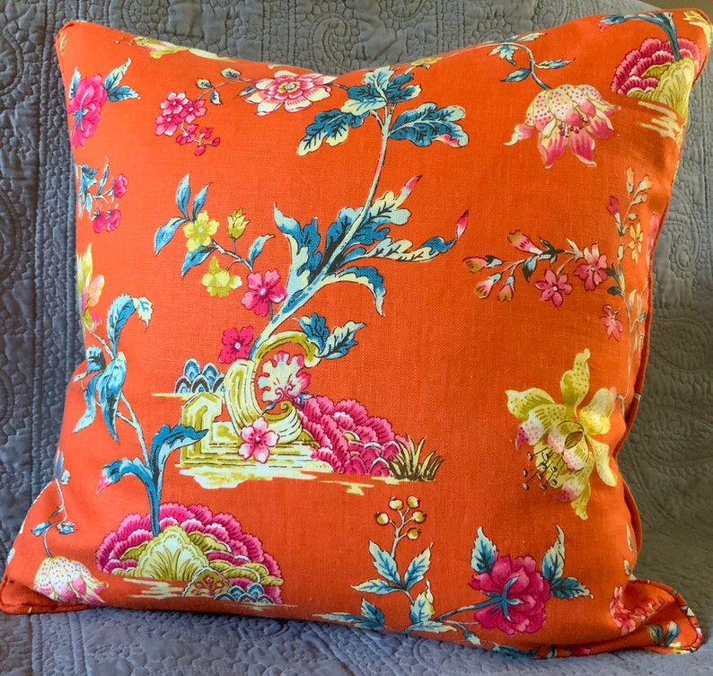 Orange floral handmade decorator throw pillow cover 21 inches image 0