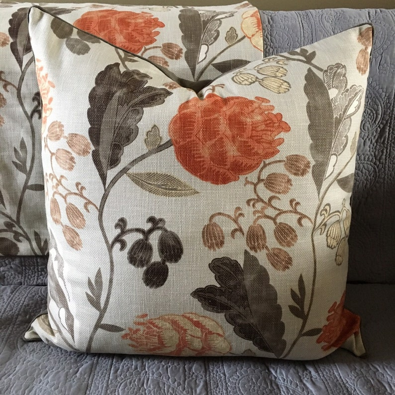 Khaki grey orange woodsy floral print decorator fabric pillow image 0