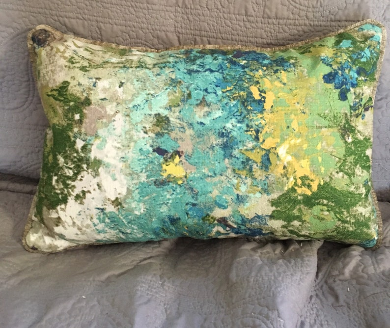 Green blue grey watercolor abstract front taupe grey velvet image 0