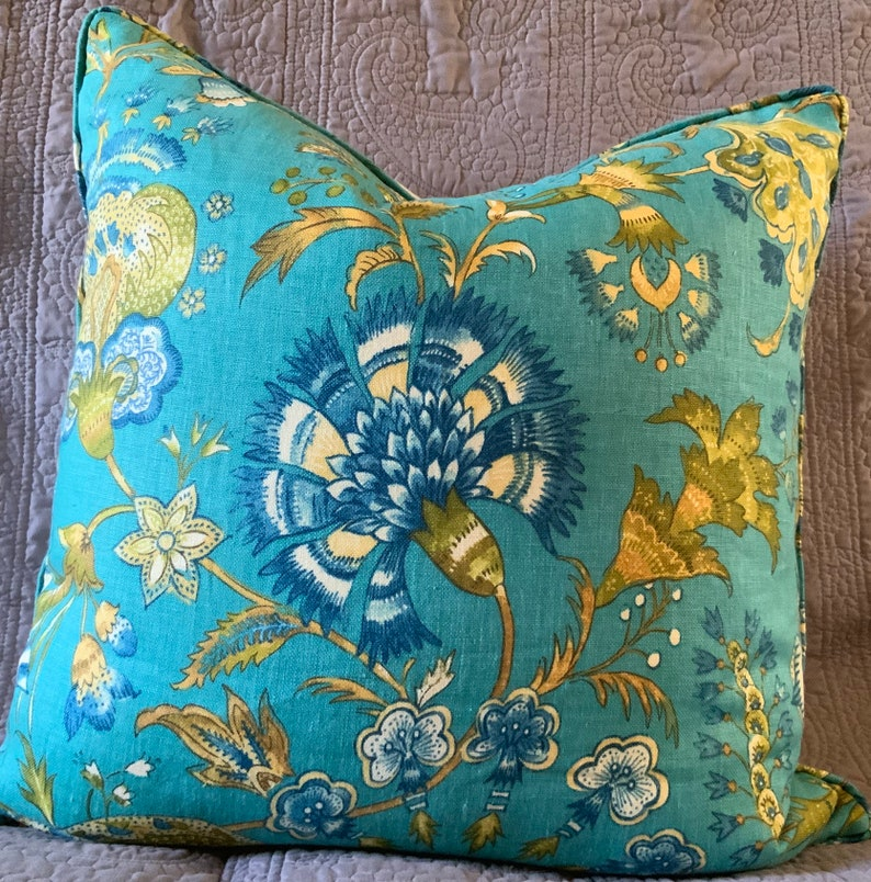 Aqua turquoise floral 21 inches square handsewn decorator image 0