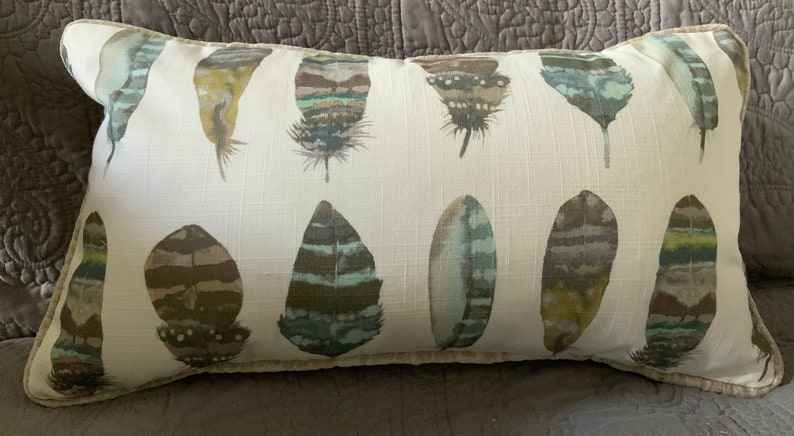 Zander Spectrum Feathers and linen decorator throw pillow image 0