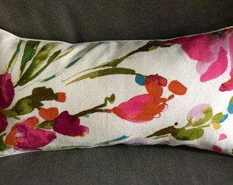 Watercolor pink white blue tropical flower lumbar 20x10 rectangle pillow + white corded edge and back + Polyfil pillow insert