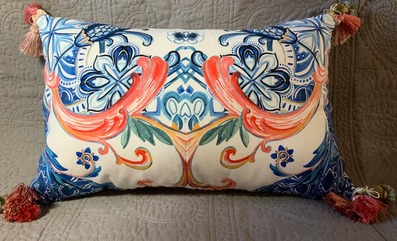 Blue pink white patterned handmade decorator accent pillow image 0