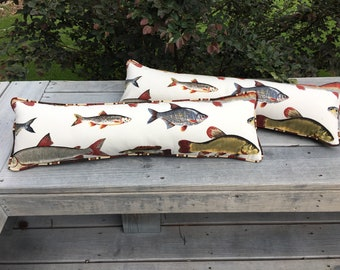 Unique fish print lodge rectangle 26x7.5 inches throw pillow brown white indoor outdoor