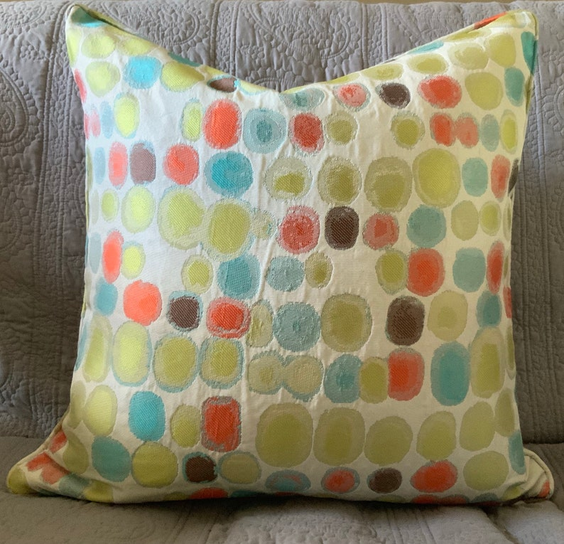 Watercolor multicolor lime coral aqua cream decorator throw image 0