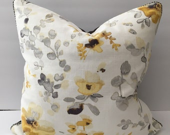 Grey White Golden Watercolor Floral Pillow Cover 18 Inches Square