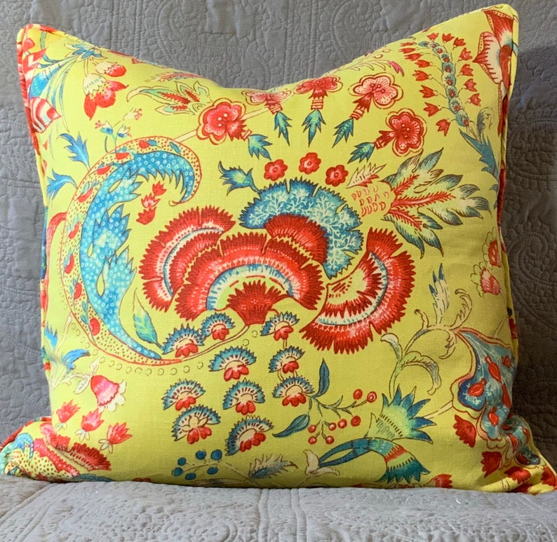 Lime red turquoise floral decorator throw pillow cover image 0