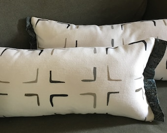 Set of 2 Grey white squares geometric print lumbar accent pillows 19x8 inch + charcoal grey batik edges + Polyfil pillow inserts