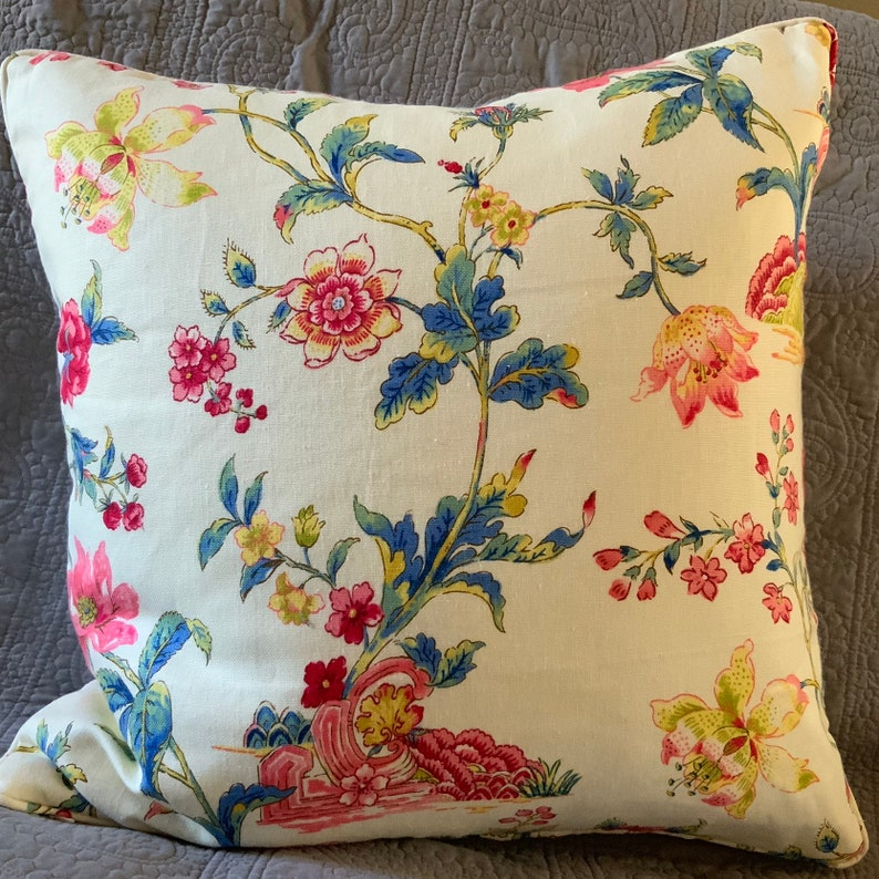 Multi color floral on cream background 21 inch square handmade image 0
