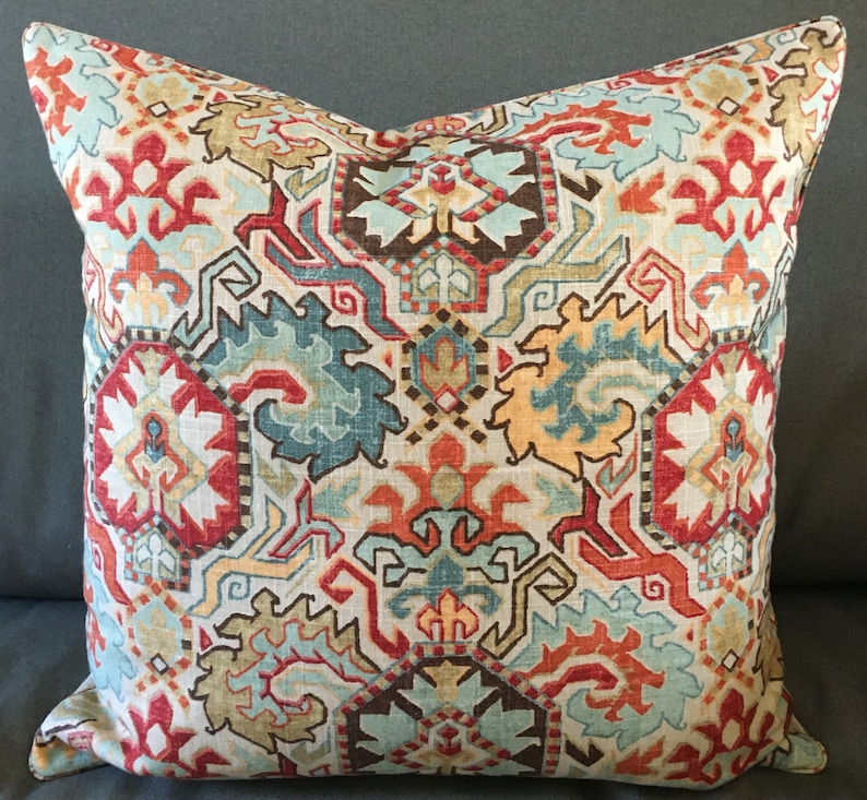 Moroccan Kilim mosaic pattern decorator throw pillow 21 inches image 0