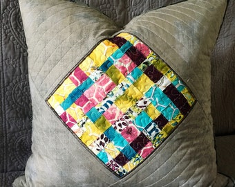 Quilted pillow cover Multicolor lattice pattern grey background quilt art textured handcrafted pillow cover 18 inch square