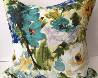 "Watercolor Floral Blue Green Cream 22"" Pillow Cover"