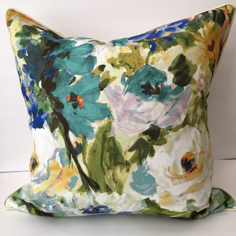 Watercolor Floral Blue Green Cream 22 Pillow Cover image 0