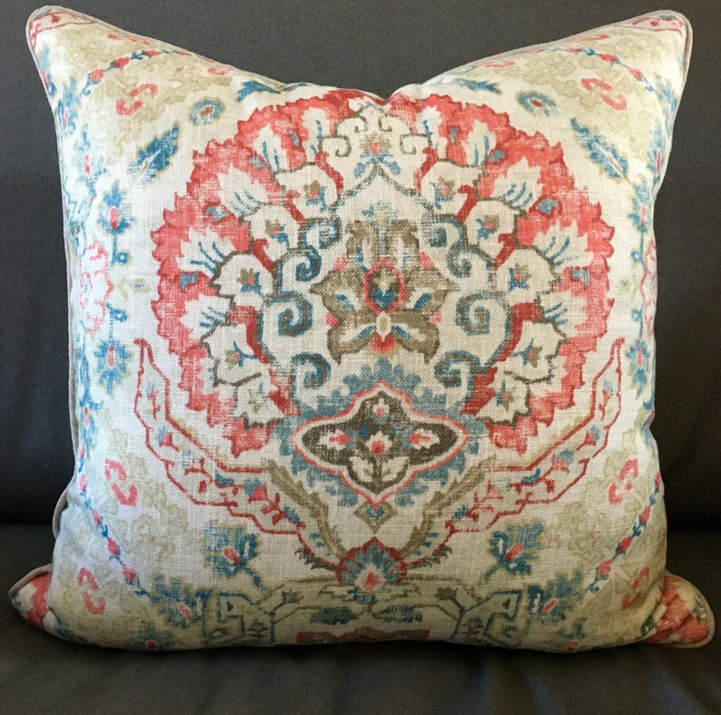 Decorator throw pillow cover 21 inches square cream red blue image 0
