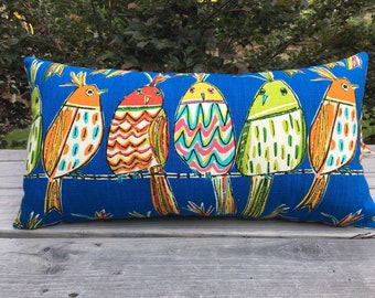 Quirky birds artsy throw pillow indoor/outdoor blue white