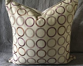 Purple circle pattern on khaki tan beige linen + lavender velvet back designer fabric pillow cover 22 inch square + corded edge