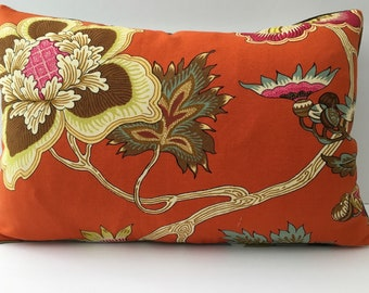 Bright Orange Cream Woodsy Floral Decorator Throw Pillow Cover 12x18 lumbar rectangle