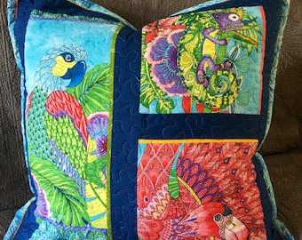 Tropical/jungle theme quilt art blue euro quilted pillow sham 27 inch square parrot iguana flamingo Paradise Falls designer fabric