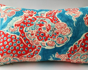 Turquoise Red White Abstract Decorator Throw Pillow Cover, Rectangle 17x11 Inches
