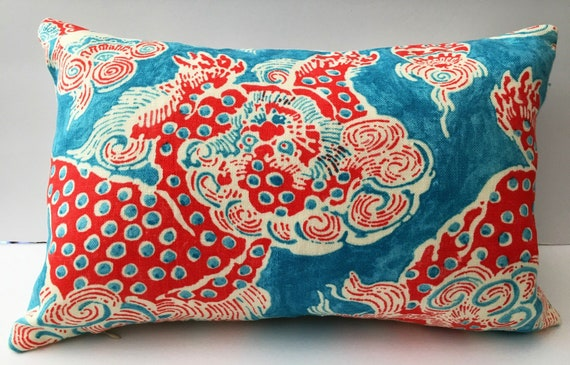 Turquoise Red White Abstract Decorator Throw Pillow Cover Etsy