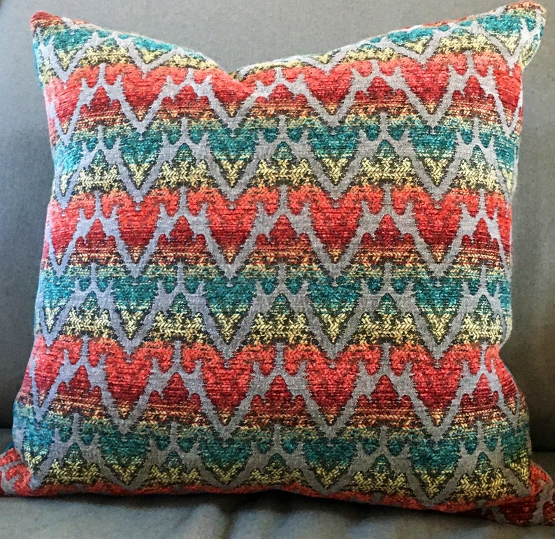 Red green teal grey decorator throw pillow cover knife edge image 0
