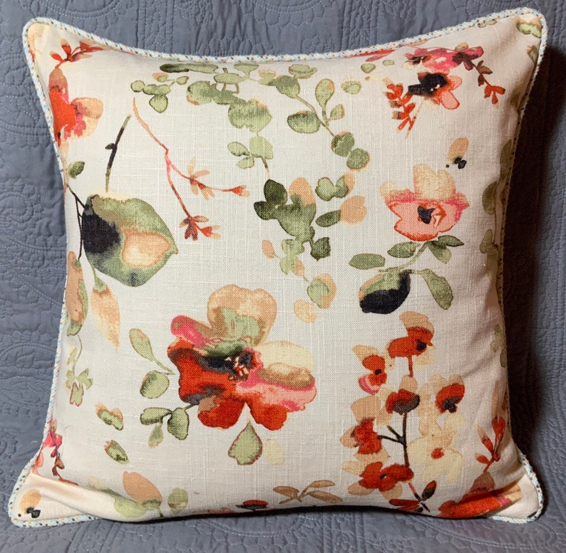 Handmade decorator throw pillow cover Vern Yip Spice floral image 0