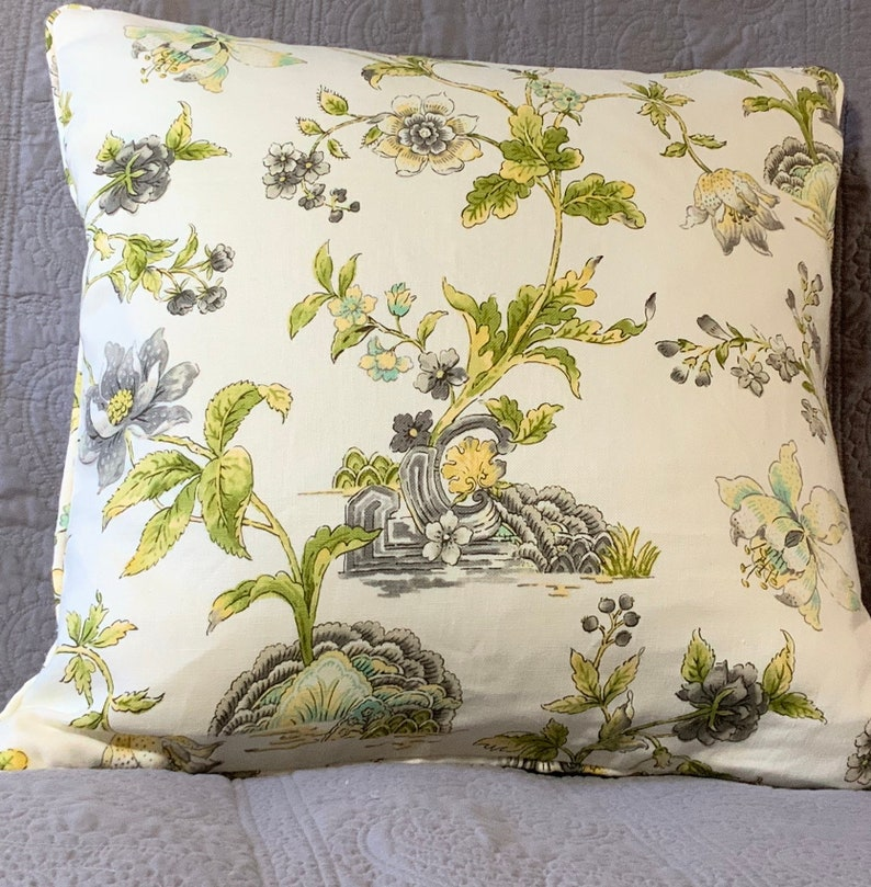 Cream silver grey green woodsy floral 21 inches square image 0